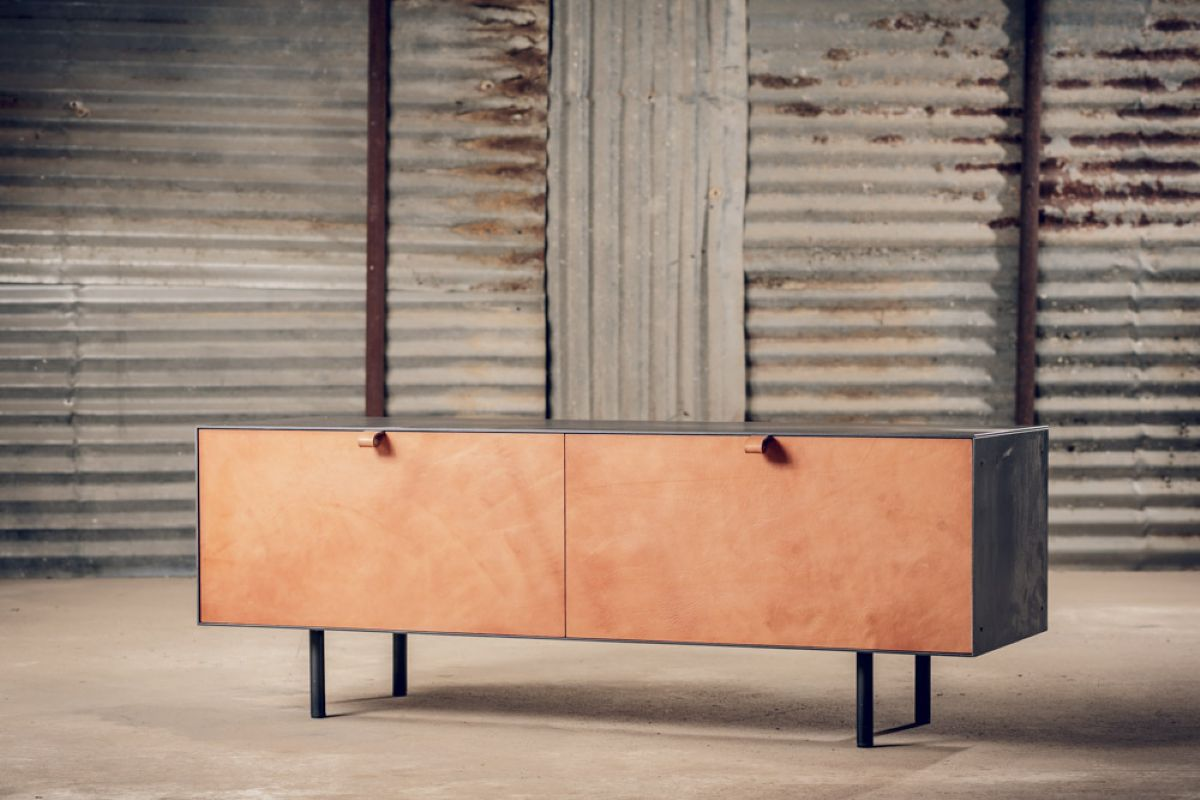 STEEL + LEATHER CABINET
